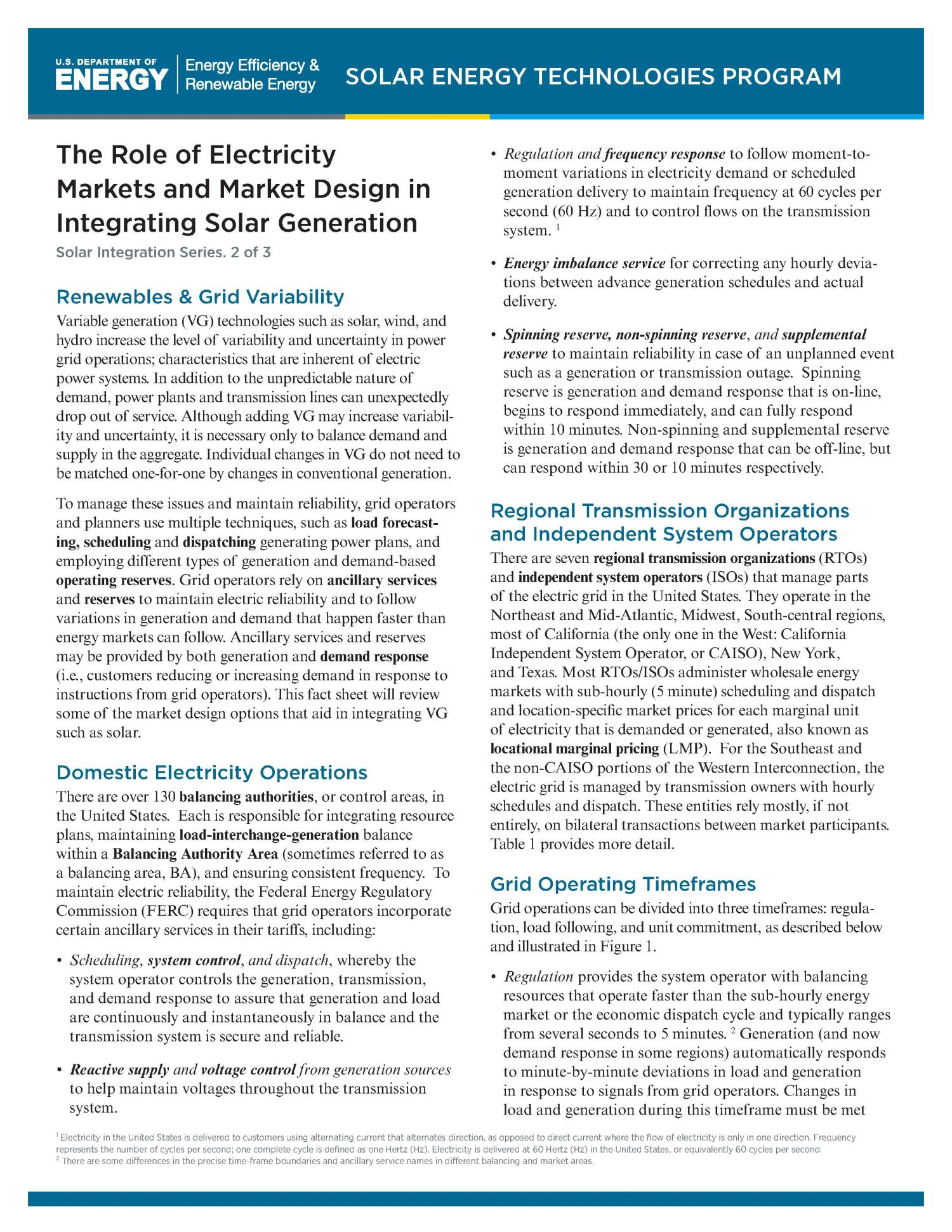 Role of Electricity Markets and Market Design in Integrating Solar ...