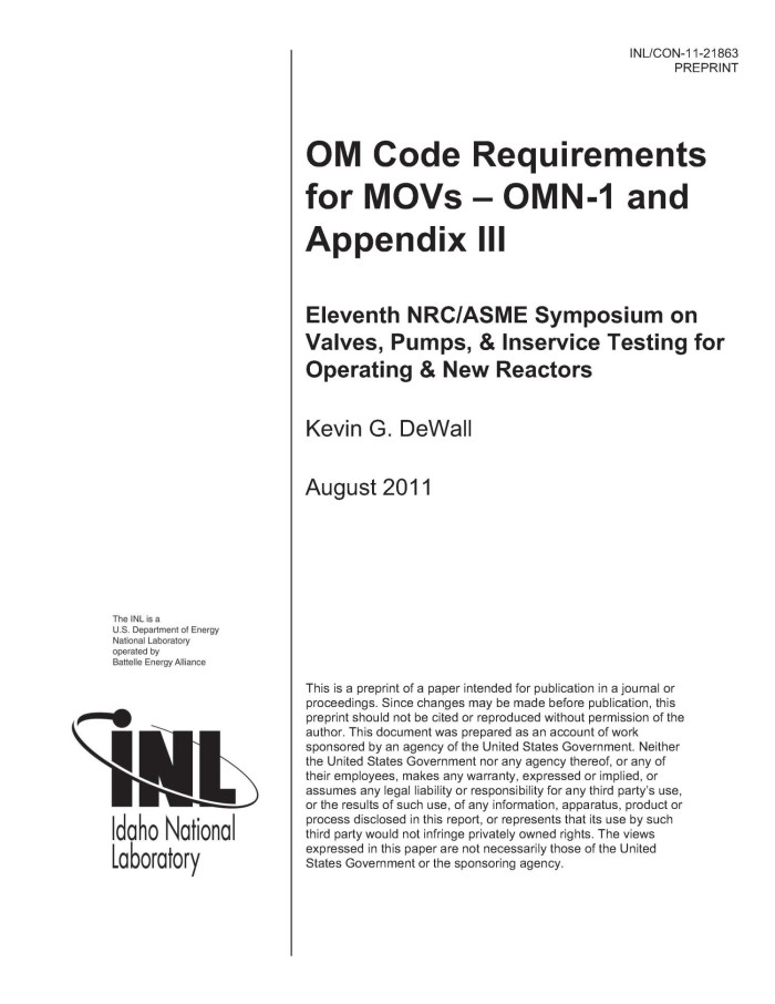 Om Code Requirements For Movs Omn 1 And Appendix Iii