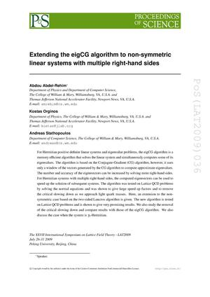 Primary view of object titled 'Extending the eigCG algorithm to non-symmetric linear systems with multiple right-hand sides'.