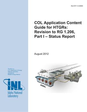 Primary view of object titled 'COL Application Content Guide for HTGRs: Revision to RG 1.206, Part 1 - Status Report'.