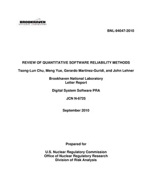 Primary view of object titled 'Review of Quantitative Software Reliability Methods'.