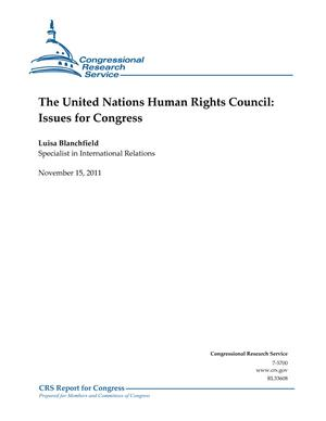 The United Nations Human Rights Council: Issues for Congress