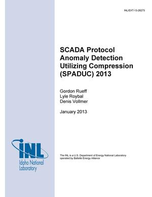 Primary view of object titled 'SCADA Protocol Anomaly Detection Utilizing Compression (SPADUC) 2013'.
