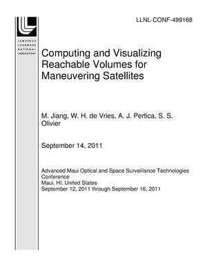 Primary view of object titled 'Computing and Visualizing Reachable Volumes for Maneuvering Satellites'.