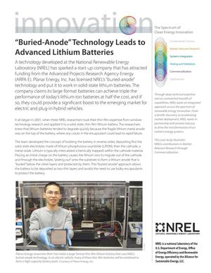 "Primary view of object titled '""Buried-Anode"" Technology Leads to Advanced Lithium Batteries (Fact Sheet)'."