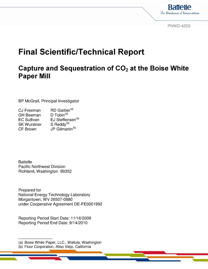 Capture And Sequestration Of Co2 At The Boise White Paper Mill