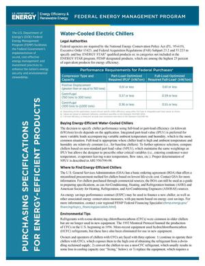 Primary view of object titled 'Water-Cooled Electric Chillers, Purchasing Specifications for Energy-Efficient Products (Fact Sheet)'.