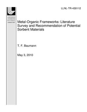 Primary view of object titled 'Metal-Organic Frameworks: Literature Survey and Recommendation of Potential Sorbent Materials'.