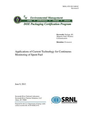 Primary view of object titled 'APPLICATIONS OF CURRENT TECHNOLOGY FOR CONTINUOUS MONITORING OF SPENT FUEL'.