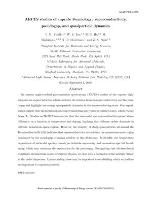 Primary view of object titled 'ARPES Studies of Cuprate Fermiology: Superconductivity, Pseudogap and Quasiparticle Dynamics'.