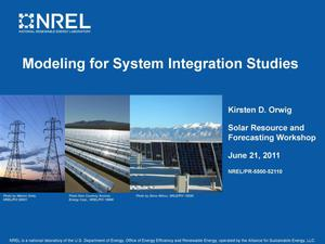 Primary view of object titled 'Modeling for System Integration Studies (Presentation)'.