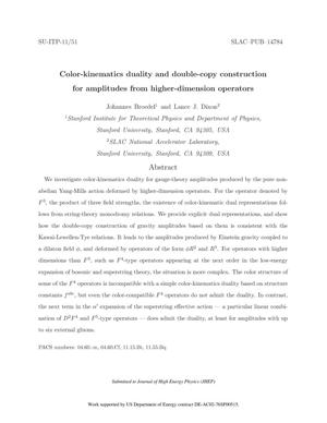 Primary view of object titled 'Color-kinematics duality and double-copy construction for amplitudes from higher-dimension operators'.