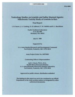 Primary view of object titled 'Toxicology Studies on Lewisite and Sulfur Mustard Agents: Subchronic Toxicity Study of Lewisite in Rats Final Report'.