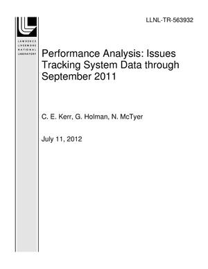 Primary view of object titled 'Performance Analysis: Issues Tracking System Data through September 2011'.