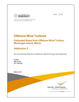 Primary view of object titled 'Offshore Wind Turbines Estimated Noise from Offshore Wind Turbine, Monhegan Island, Maine Addendum 2'.