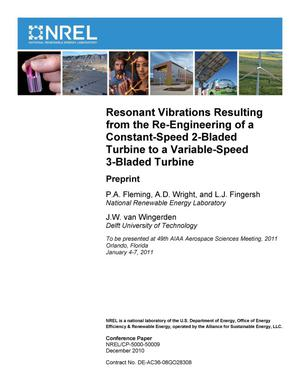 Primary view of object titled 'Resonant Vibrations Resulting from the Re-Engineering of a Constant-Speed 2-Bladed Turbine to a Variable-Speed 3-Bladed Turbine'.