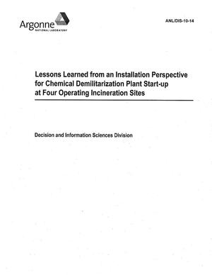 Primary view of object titled 'Lessons learned from an installation perspective for chemical demilitarization plant start-up at four operating incineration sites.'.