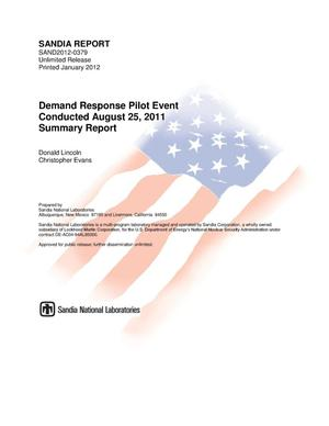 Primary view of object titled 'Demand response pilot event conducted August 2,2011 : summary report.'.