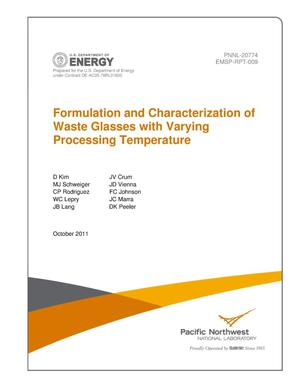 Primary view of object titled 'Formulation and Characterization of Waste Glasses with Varying Processing Temperature'.
