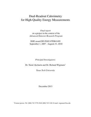 Primary view of object titled 'Dual-Readout Calorimetry for High-Quality Energy Measurements. Final Report'.
