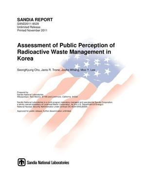 Primary view of object titled 'Assessment of public perception of radioactive waste management in Korea.'.