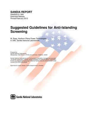 Primary view of object titled 'Suggested guidelines for anti-islanding screening.'.