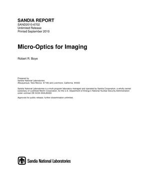 Primary view of object titled 'Micro-optics for imaging.'.