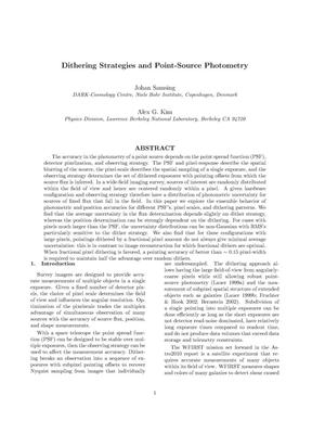 Primary view of object titled 'Dithering Strategies and Point-Source Photometry'.