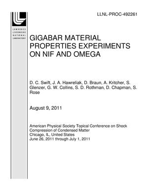Primary view of object titled 'GIGABAR MATERIAL PROPERTIES EXPERIMENTS ON NIF AND OMEGA'.