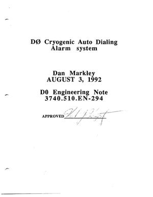 Primary view of object titled 'D0 Cryogenic Auto Dialing Alarm System'.