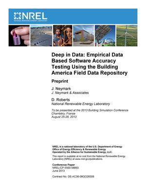 Primary view of object titled 'Deep in Data: Empirical Data Based Software Accuracy Testing Using the Building America Field Data Repository: Preprint'.
