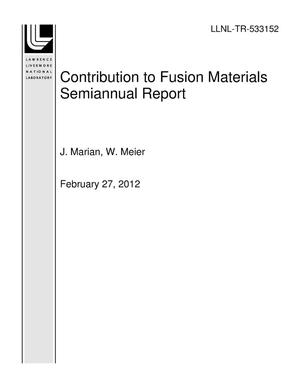 Primary view of object titled 'Contribution to Fusion Materials Semiannual Report'.