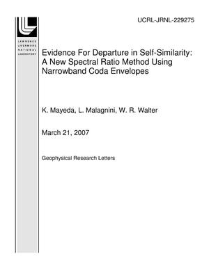 Primary view of object titled 'Evidence For Departure in Self-Similarity: A New Spectral Ratio Method Using Narrowband Coda Envelopes'.