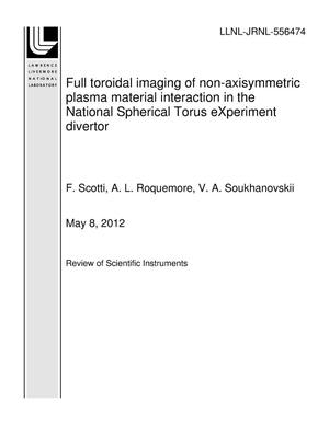 Primary view of object titled 'Full toroidal imaging of non-axisymmetric plasma material interaction in the National Spherical Torus eXperiment divertor'.