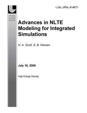 Primary view of object titled 'Advances in NLTE Modeling for Integrated Simulations'.