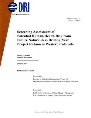 Primary view of object titled 'Screening Assessment of Potential Human-Health Risk from Future Natural-Gas Drilling Near Project Rulison in Western Colorado'.