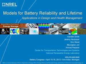 Primary view of object titled 'Models for Battery Reliability and Lifetime: Applications in Design and Health Management (Presentation)'.