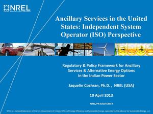 Primary view of object titled 'Ancillary Services in the United States: Independent System Operator (ISO) Perspective (Presentation)'.
