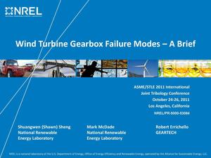 Primary view of object titled 'Wind Turbine Gearbox Failure Modes - A Brief (Presentation)'.