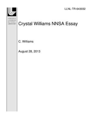 Primary view of object titled 'Crystal Williams NNSA Essay'.