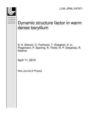 Primary view of object titled 'Dynamic structure factor in warm dense beryllium'.