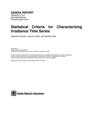 Primary view of object titled 'Statistical criteria for characterizing irradiance time series.'.
