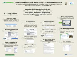 Primary view of object titled 'Creating a Collaborative Online Project for an MBA Core course'.