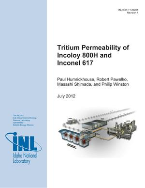 Primary view of object titled 'Tritium Permeability of Incoloy 800H and Inconel 617'.
