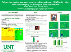 Enhancing student-centered learning in Biomechanics (KINE3050) using new and emerging technological educational tools