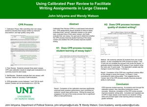 Primary view of object titled 'Using Calibrated Peer Review to Facilitate Writing Assignments in Large Classes'.