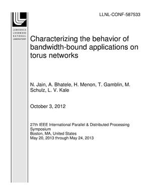 Primary view of object titled 'Characterizing the behavior of bandwidth-bound applications on torus networks'.