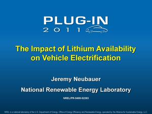 Primary view of object titled 'Impact of Lithium Availability on Vehicle Electrification (Presentation)'.