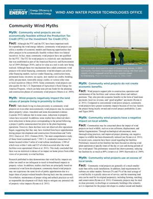Primary view of object titled 'Community Wind Myths (Fact Sheet)'.