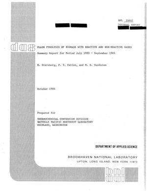 Primary view of object titled 'Flash Pyrolysis of Biomass with Reactive and Non-Reactive Gases: Summary Report for Period July 1983 through September 1984'.